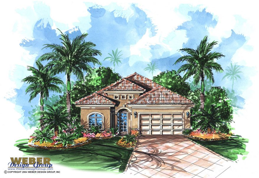 Mediterranean house plan waterfront golf course bungalow for House plans for golf course lots