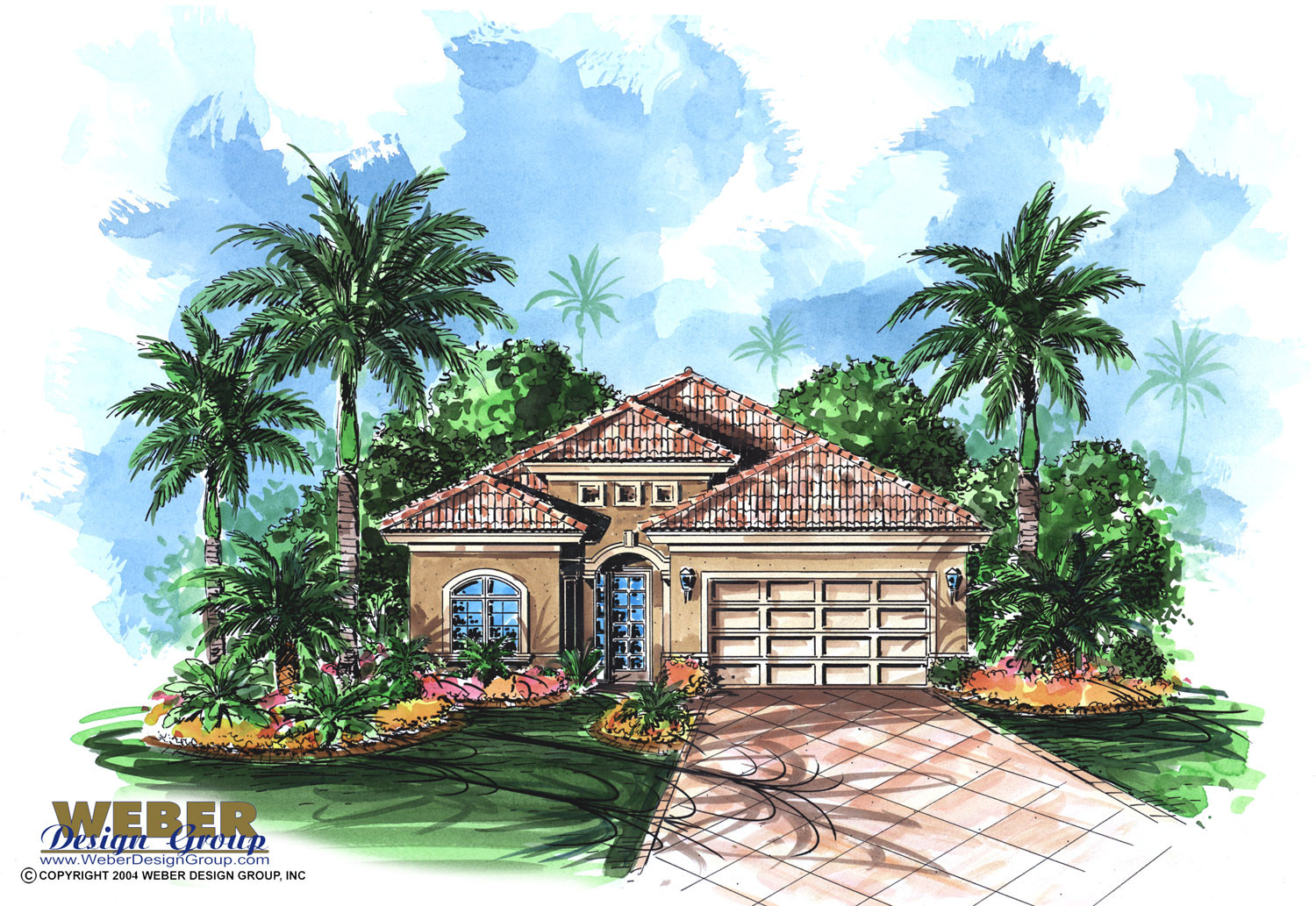 Small Mediterranean Bungalow House Plan for Golf Course Waterfront Lot
