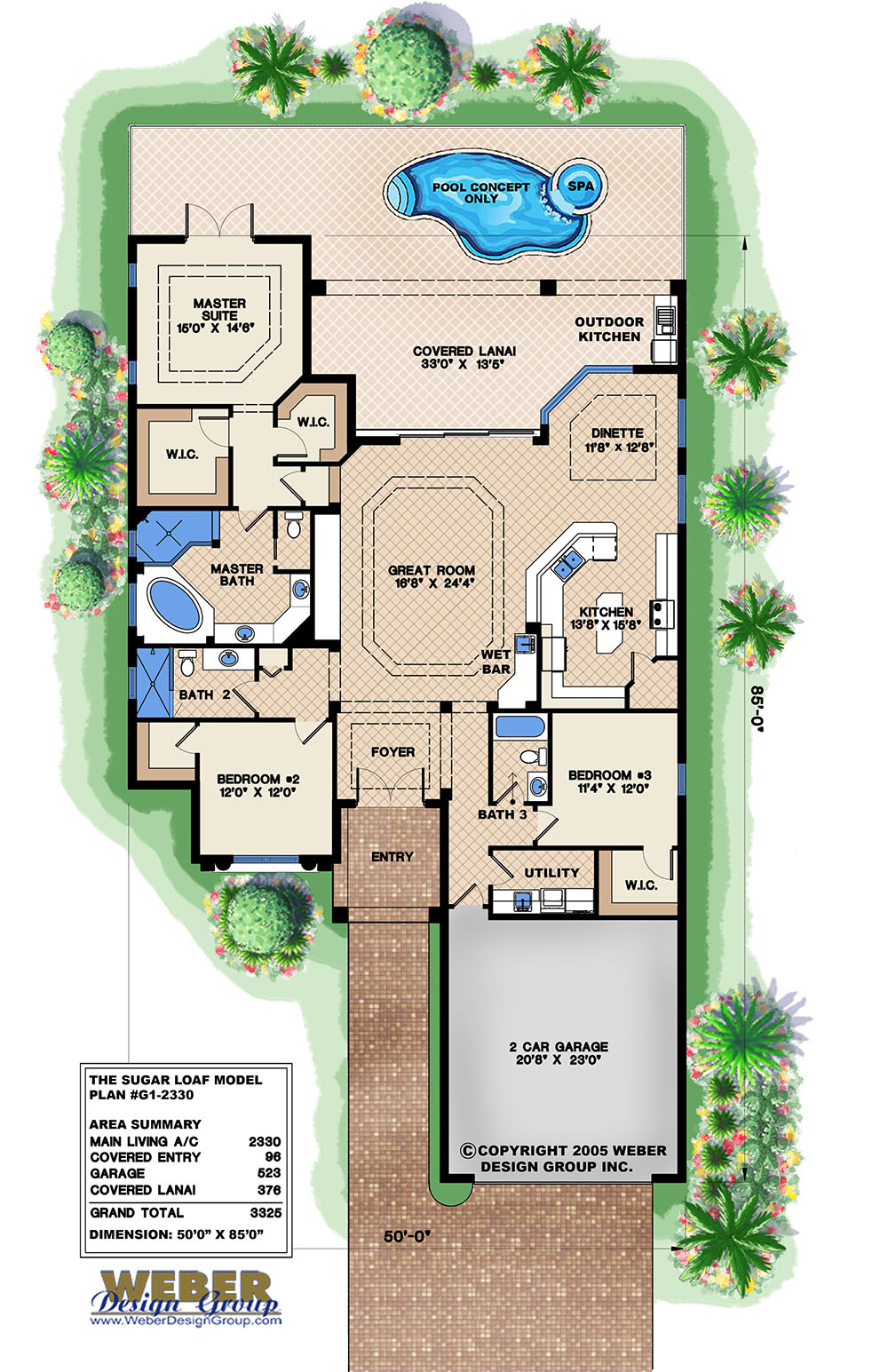 Mediterranean house plan narrow lot golf course home for Narrow lot house plans