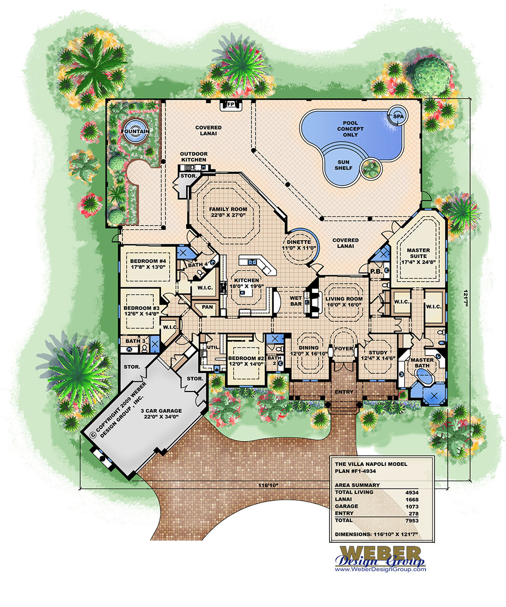 Ambergris cay house plan weber design group inc for Villa floor plans