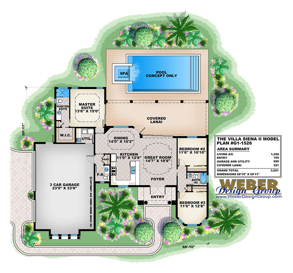 Villa siena ii house plan weber design group naples fl for Weber design