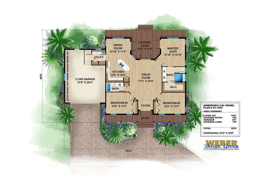 Ambergris Cay, Small Olde Florida House Plan