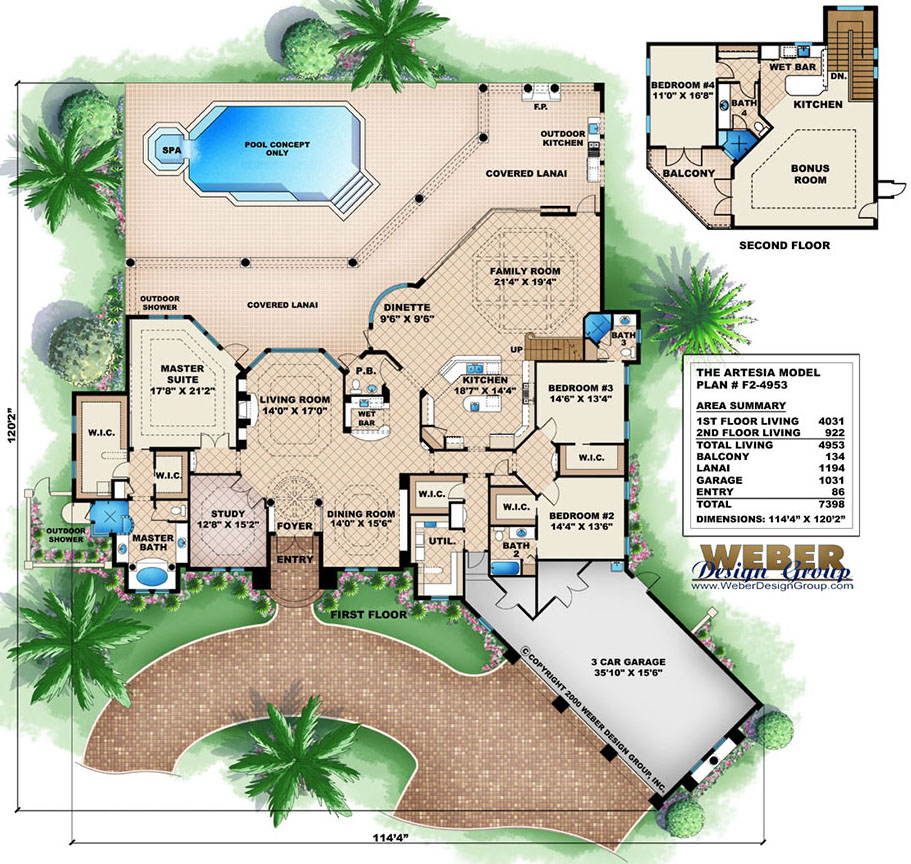 Mediterranean house plans with pools escortsea for Florida house plans with pool