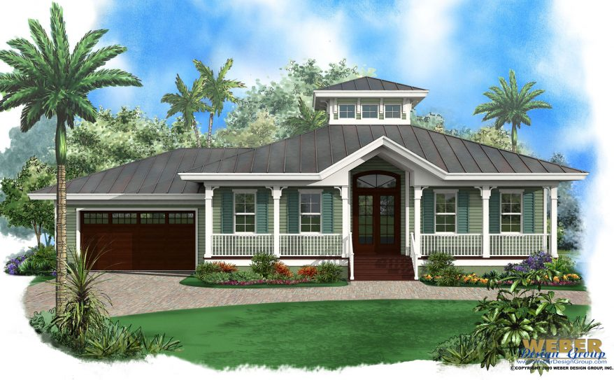 beach-house-plan-old-florida-style-878x543 Large Single Story House Plans Florida Lania on