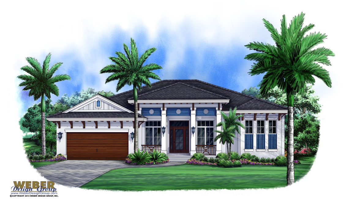 West indies house plan contemporary island style beach for Beach house plans 1 story
