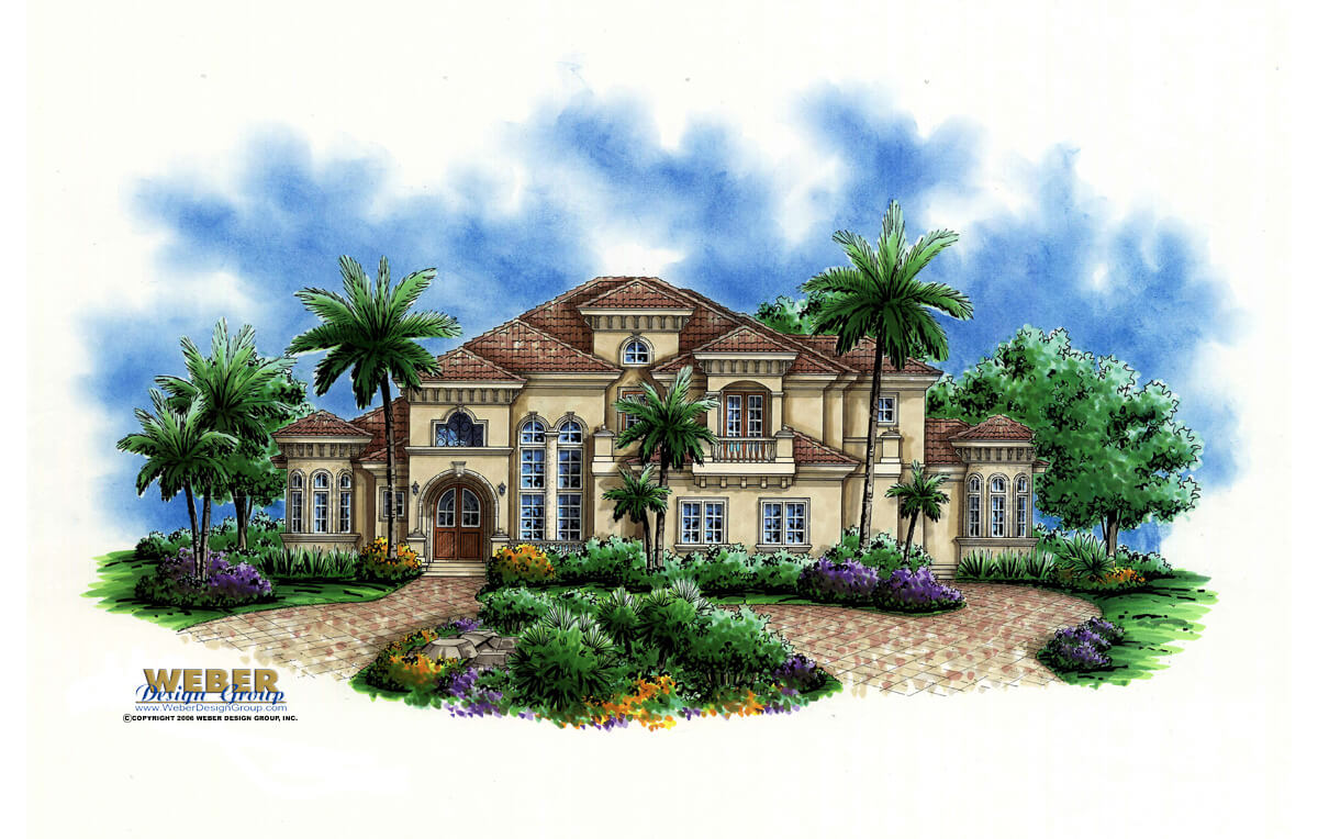 Mediterranean House Plan Beach or Waterfront Golf Course Home Plan