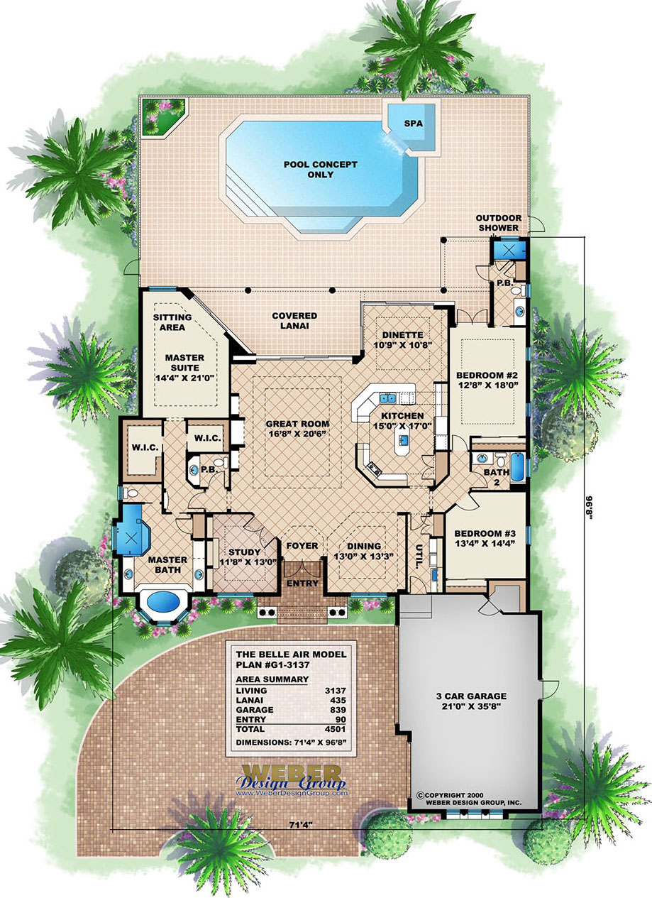 Mediterranean house plan 1 story tuscan style waterfront for Beach house plans 1 story
