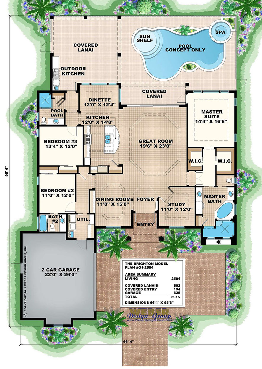 Mediterranean House Plan Small Home Floor Plan with Swimming Pool