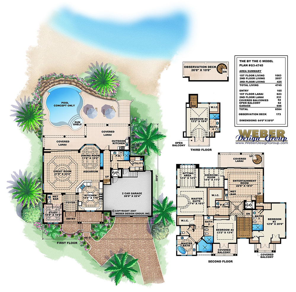Careful Space Planning Tropical House Garage View: 3 Story Caribbean House Plan, Beach Home Design For