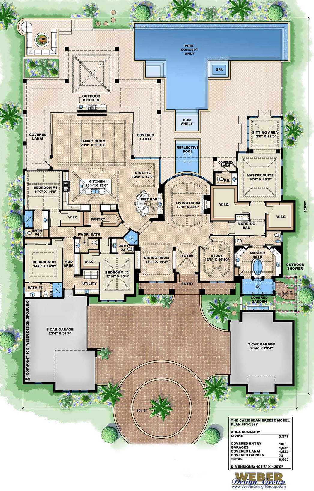 Caribbean house plan 1 story contemporary beach home for Caribbean home plans