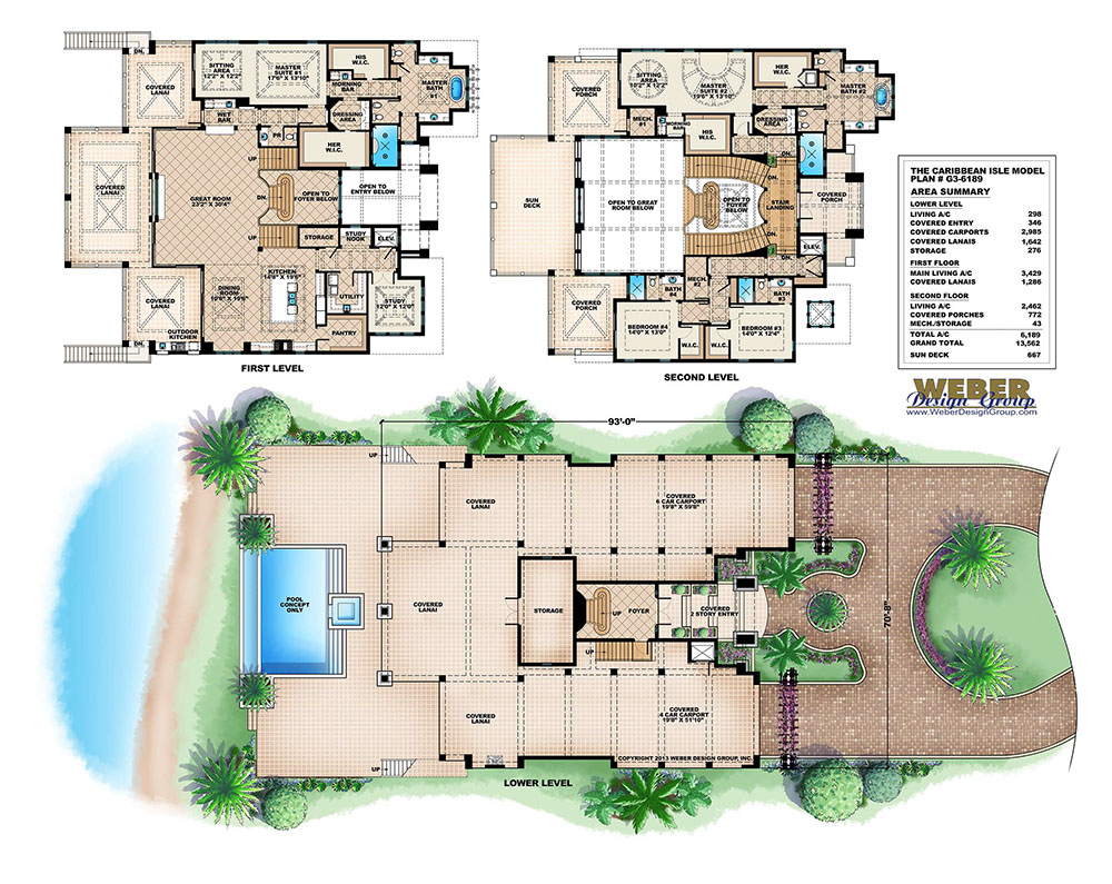 Coastal style house plan 3 story floor plan outdoor for Caribbean home plans