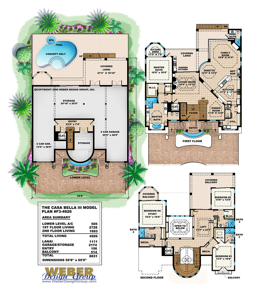 Unique Coastal House Plan Mediterranean Architecture 3