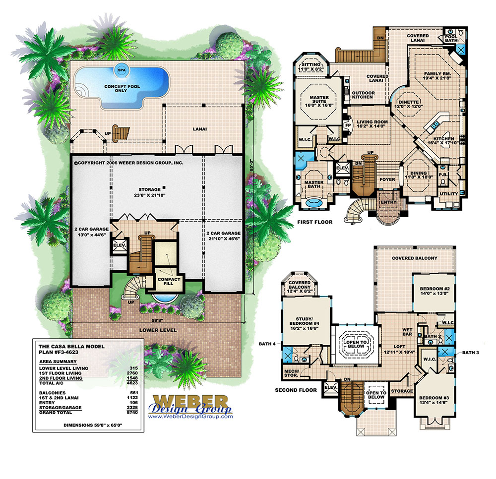 Beach House Plan 3 Story Mediterranean Style Outdoor
