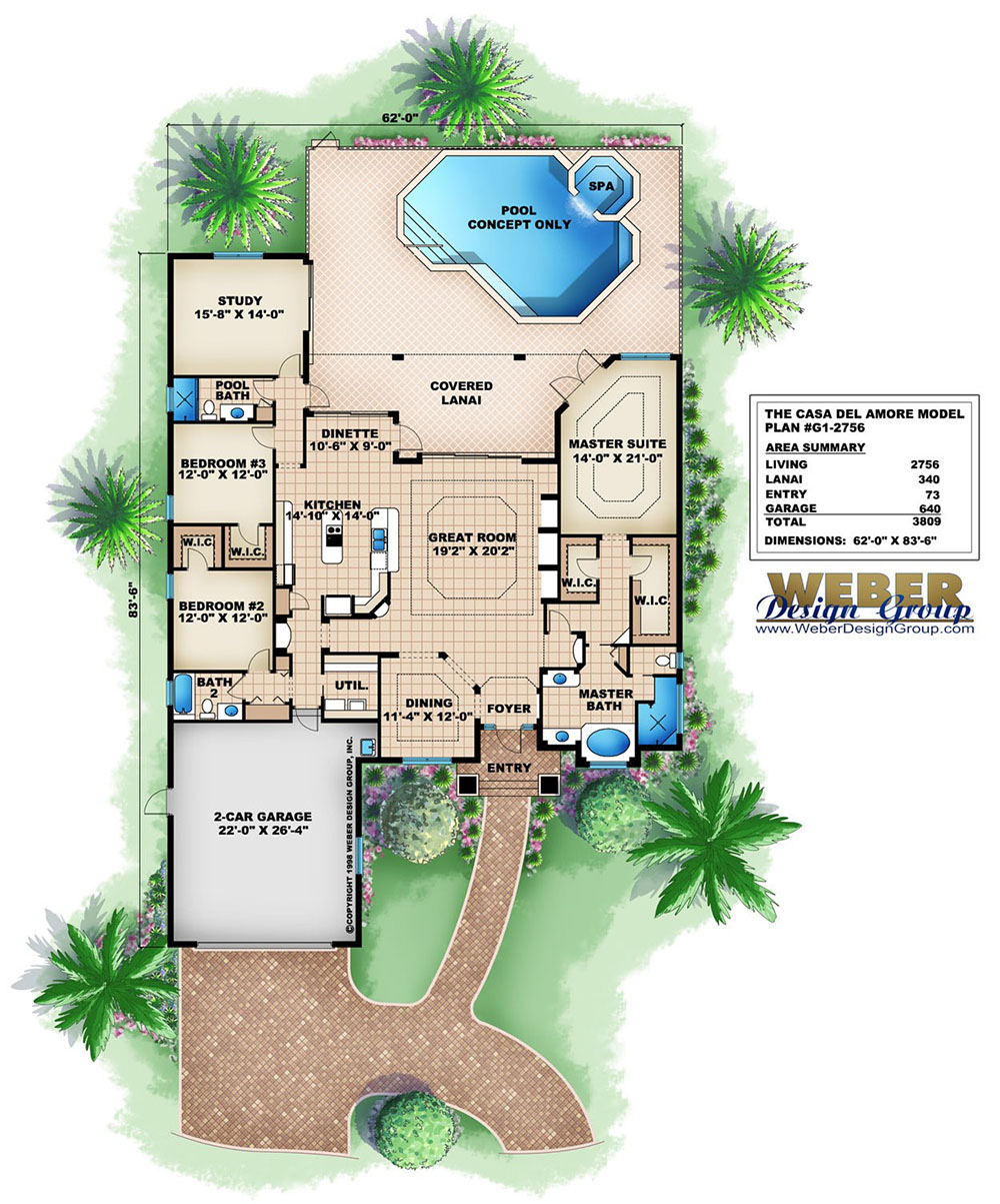 Floor Plan. Casa Del Amore Home Plan   Weber Design Group  Inc