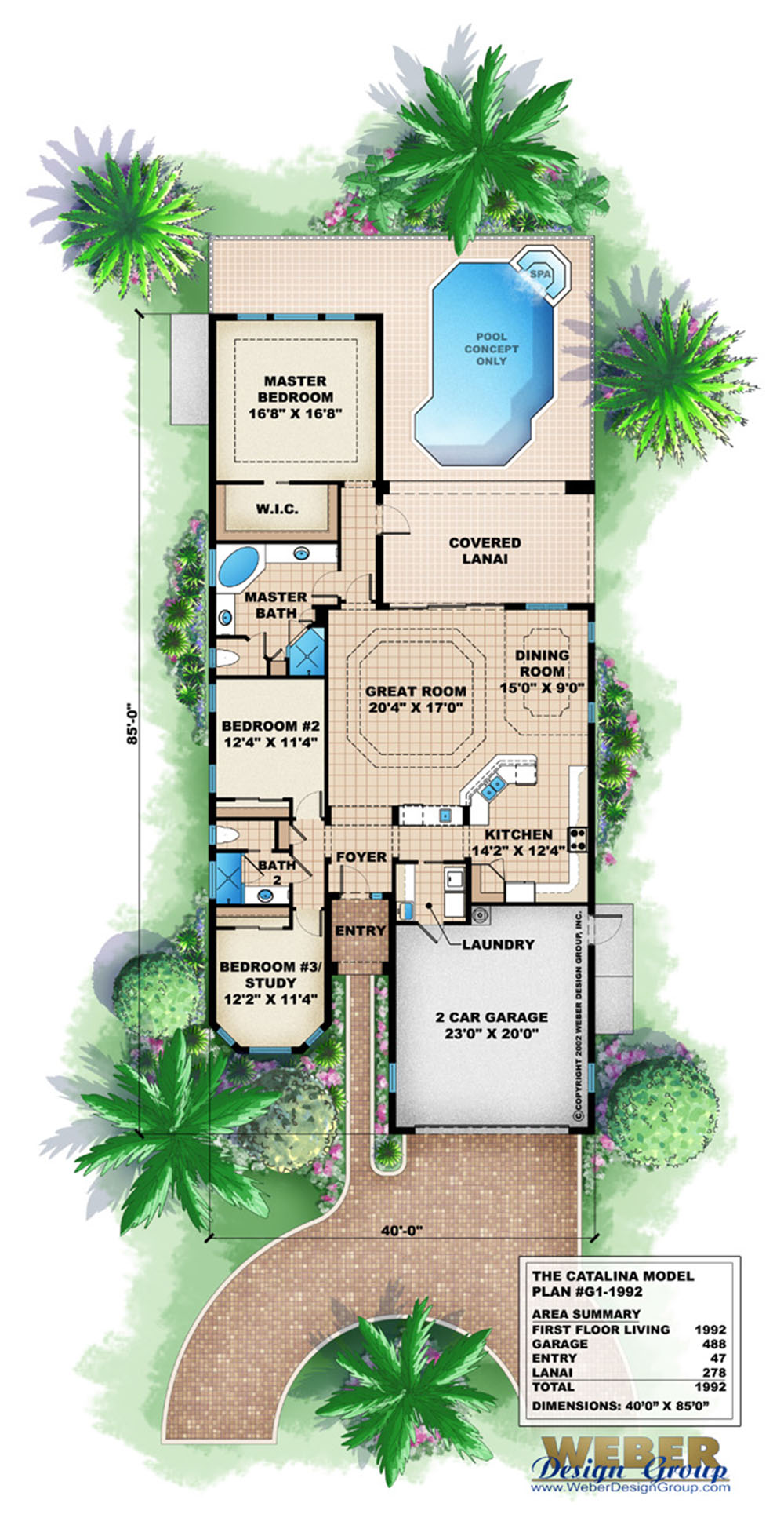 Mediterranean House Plan for Narrow Lot Lanai Outdoor Kitchen Pool