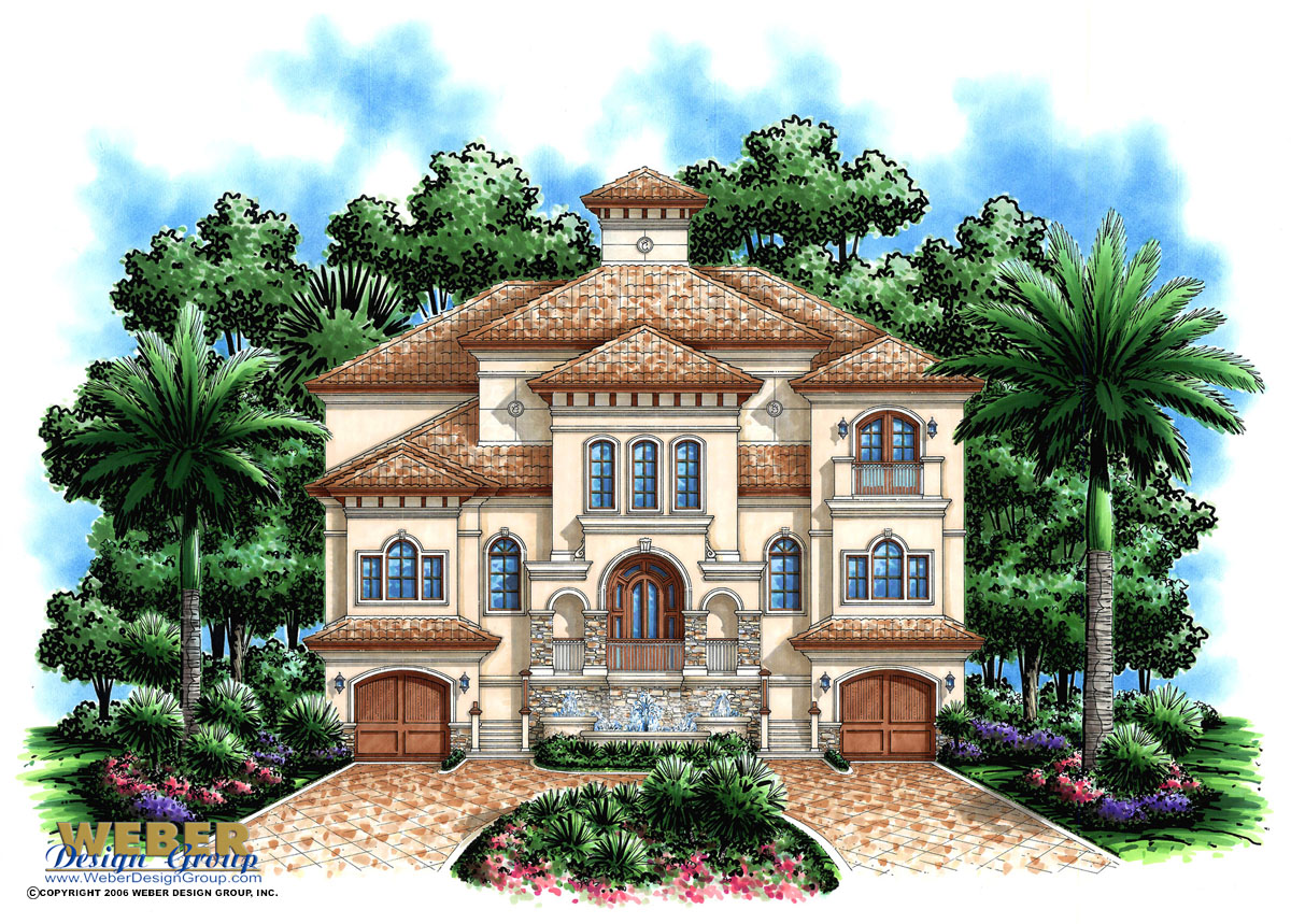 Beach house plan 3 story coastal mediterranean style for Mediterranean style floor plans