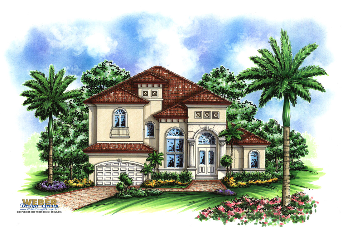 Mediterranean house plan coastal mediterranean tuscan for Two story mediterranean house plans
