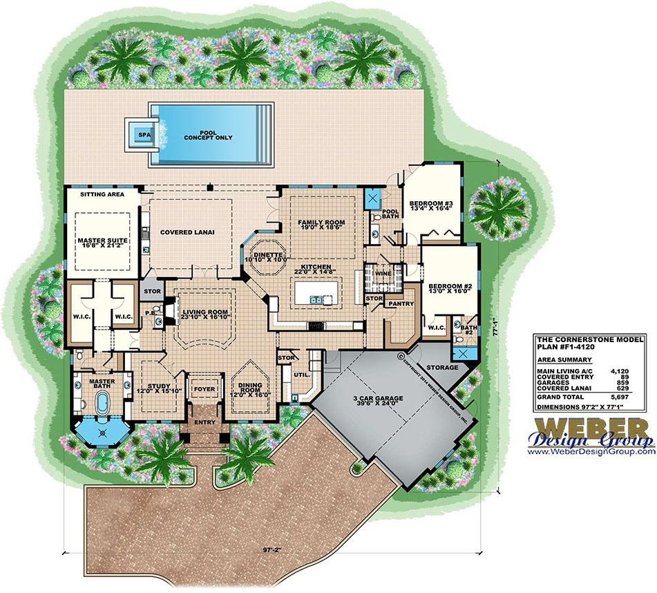 Contemporary house plan 1 story coastal contemporary for Weber design