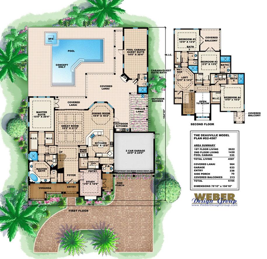 Cabana Pool House Designs Plan: Cabana House Plans: Beach & Pool Home Floor Plans With Cabanas
