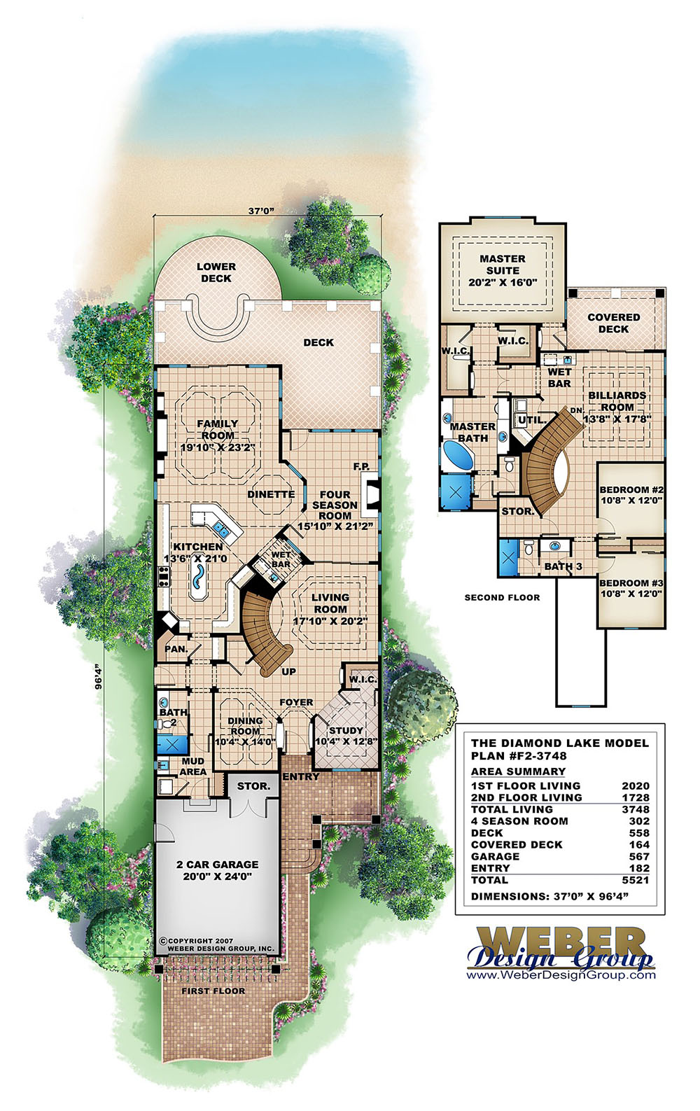 Diamond lake house plan weber design group for Lake house floor plans narrow lot