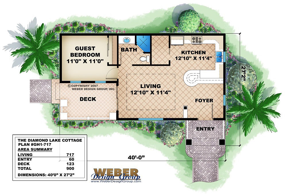 Small House Plan Tiny Cottage Home Or Guest House Plan 800 Sq Ft