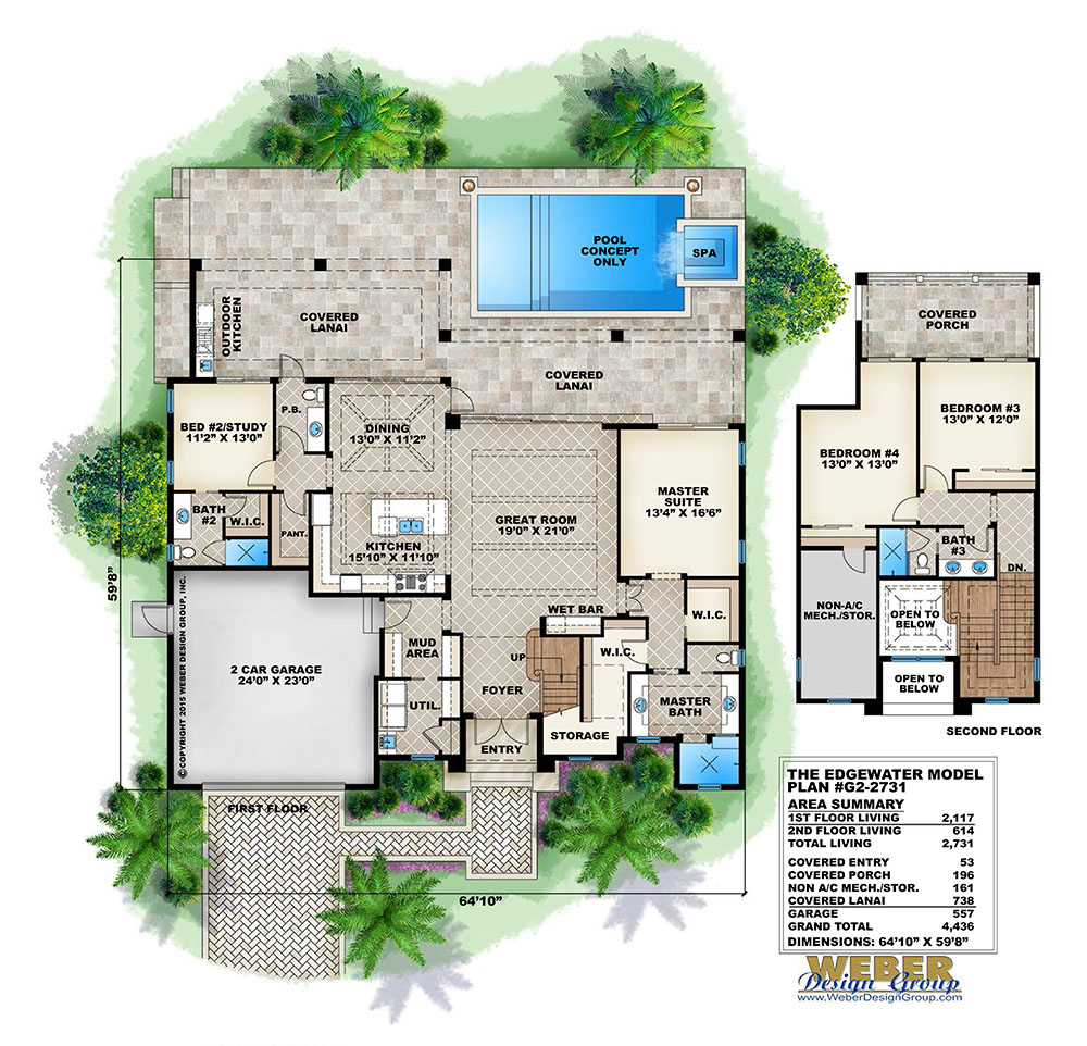 Beach house plan transitional west indies beach home for Weber design