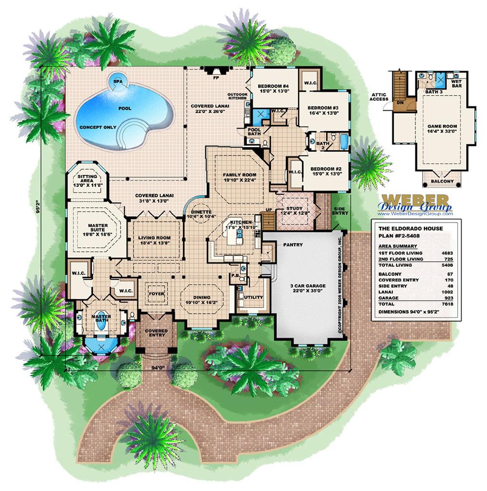 Mediterranean House Plan Luxury Outdoor Living Eldorado