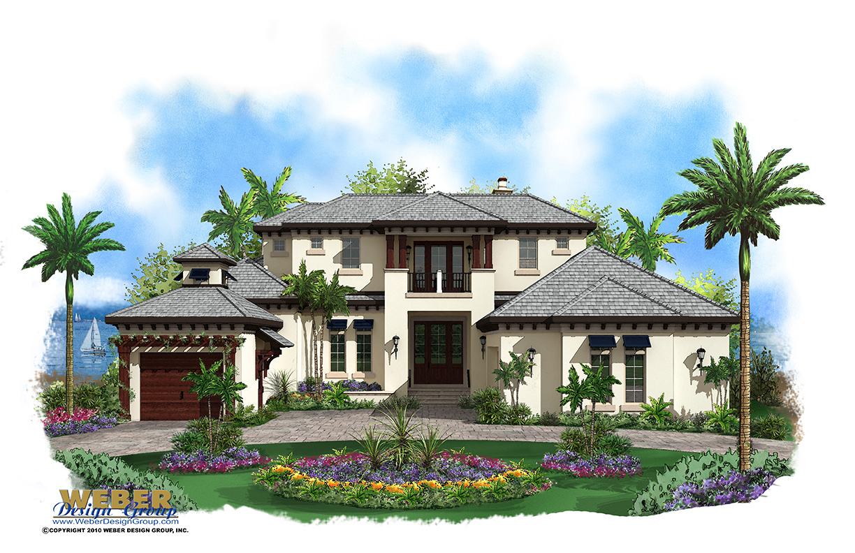 Caribbean house plan 2 story coastal contemporary floor plan for Elevated key west style house plans