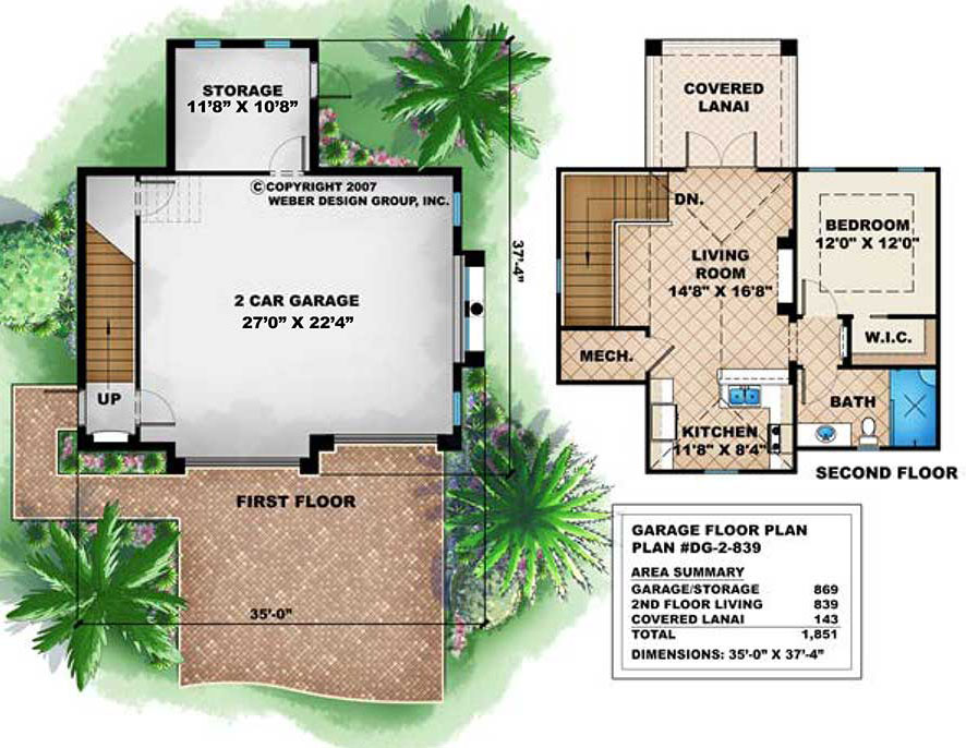 Small 2 story house floor plan with 2 car garage for Garage floor plans