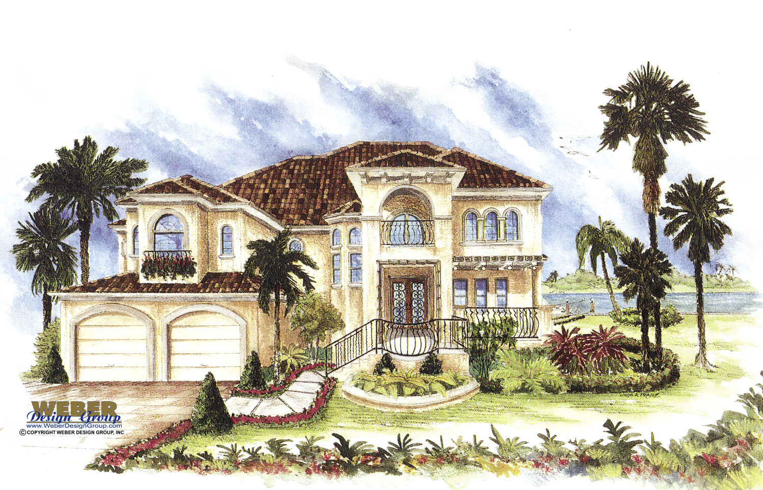 Mediterranean House Plan: 2 Story Luxury Home Floor Plan