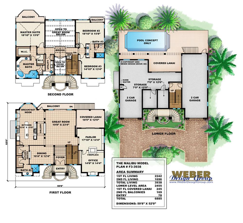 Mediterranean house plan 3 story luxury beach home floor plan for Group home floor plans