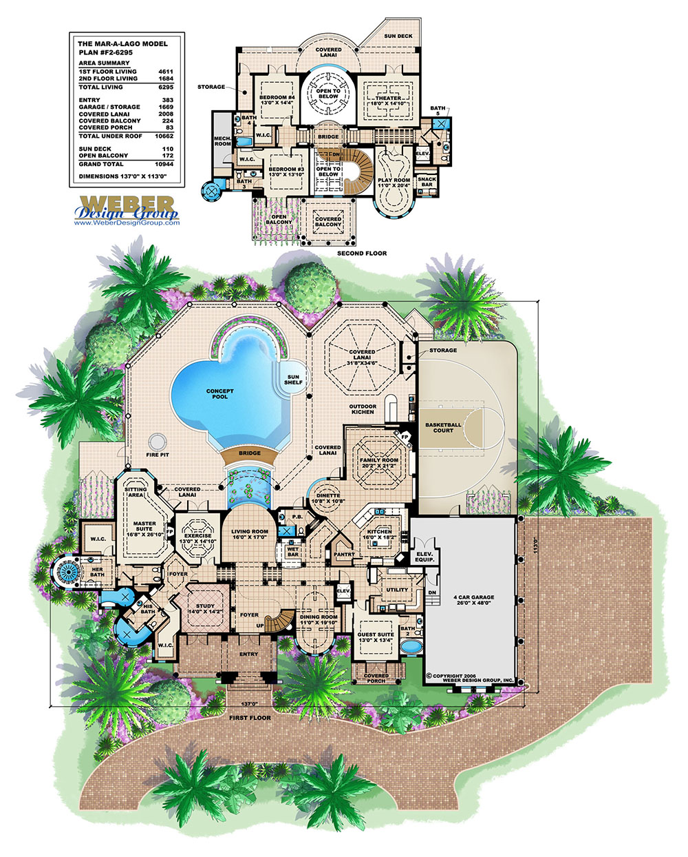 Mediterranean house plan 2 story waterfront mansion floor for Floor plans with pictures