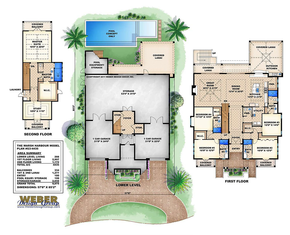 3 story old florida house plan beach outdoor living for Florida house plans with pool