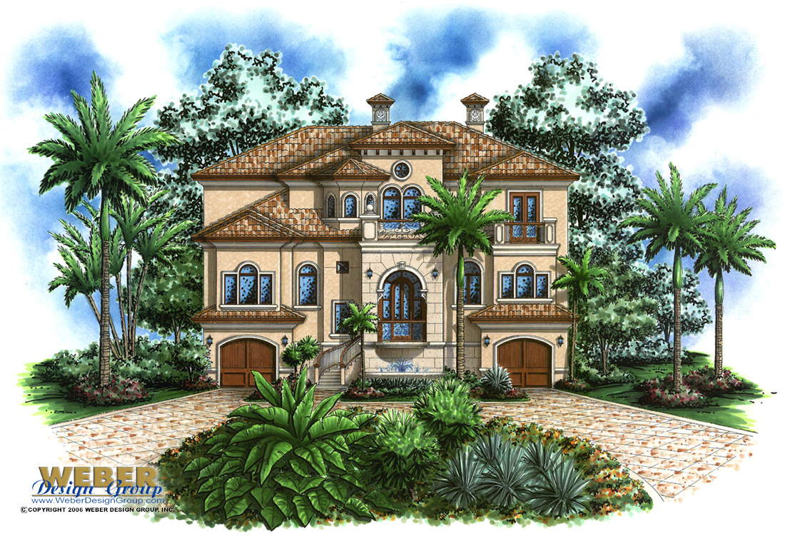 Beach house plan coastal mediterranean style home floor plan for Tropical home plans