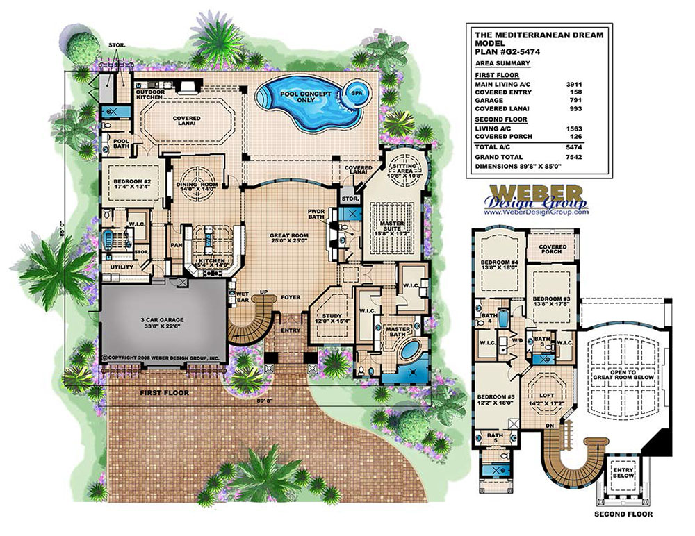Mediterranean Dream Home Plan: Italian-Mediterranean Home Floor Plan