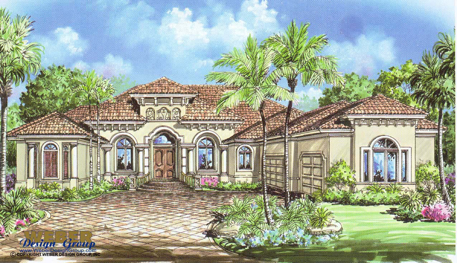 Mediterranean House Plan: 1 Story Mediterranean Floor Plan with Pool