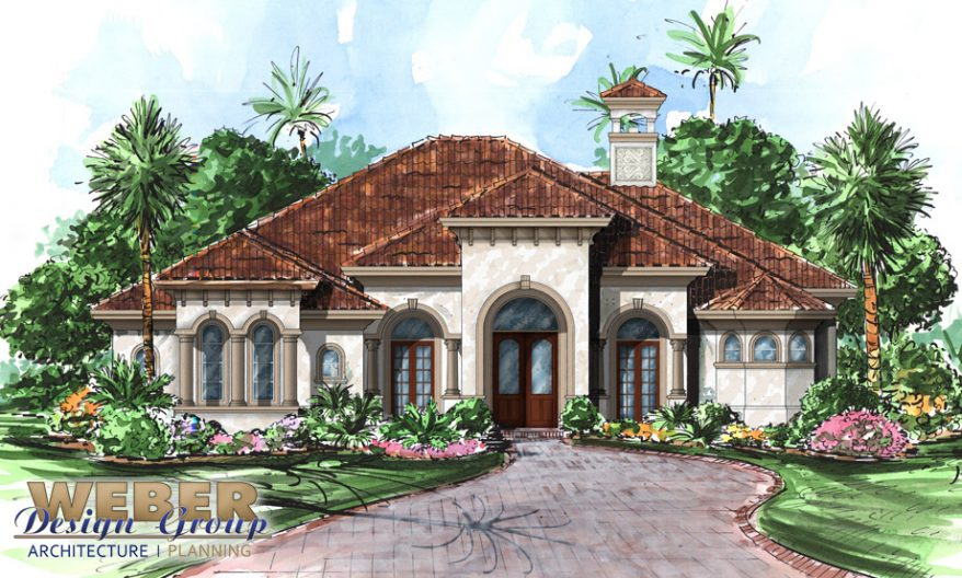 Mediterranean house plan mediterranean golf course home for Golf course house plans