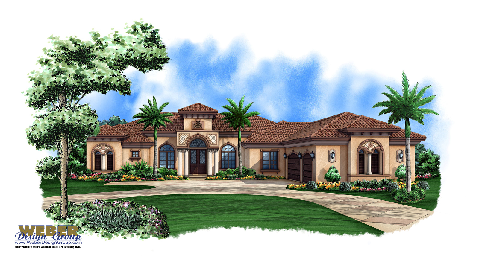 Mediterranean House Plan: 1 Story Mediterranean Luxury Home Plan