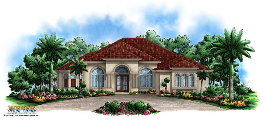 Mediterranean house plan 1 story tuscan style waterfront for Weber designs
