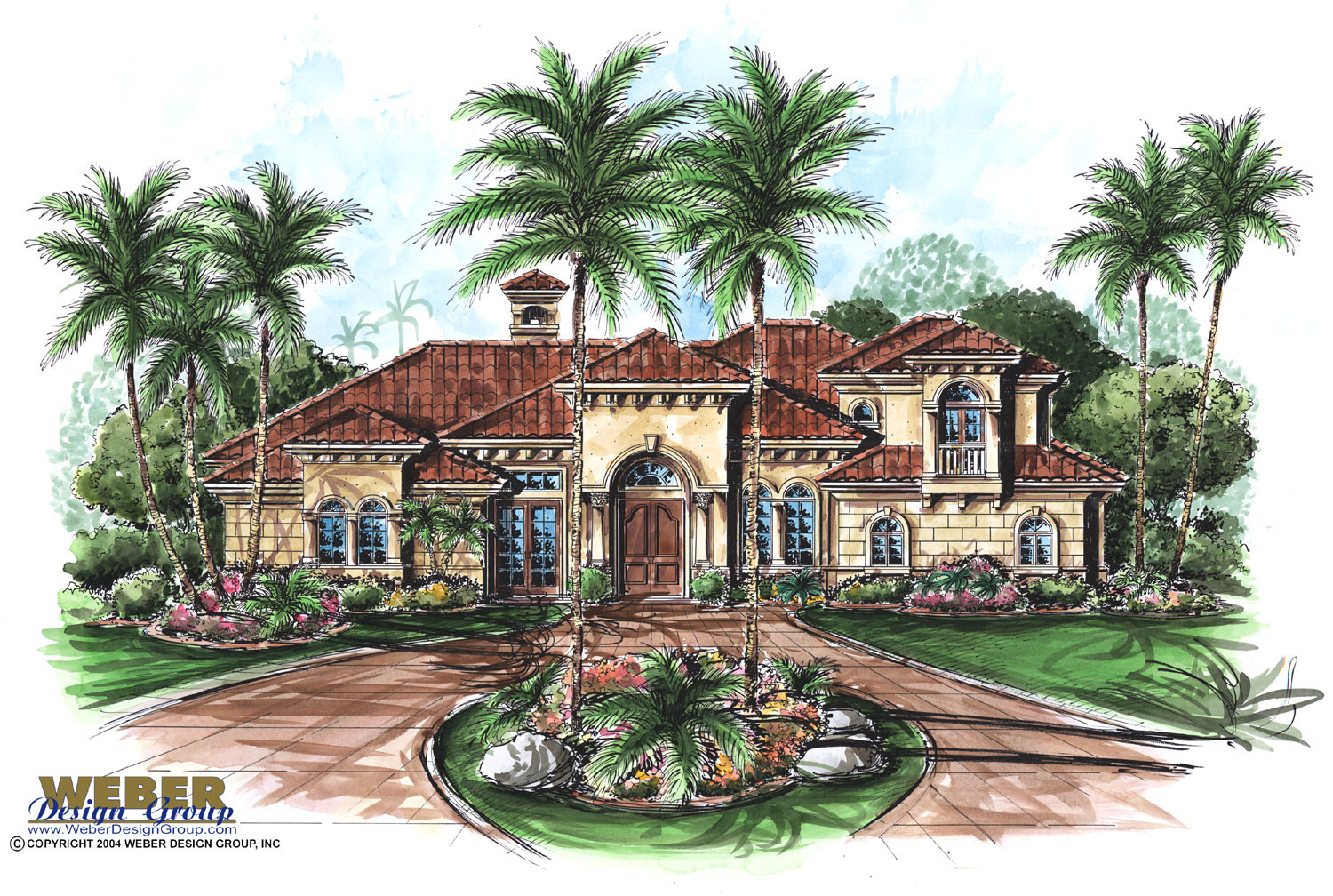 Mediterranean House Plan: 2 Story Tuscan Style Home Floor Plan