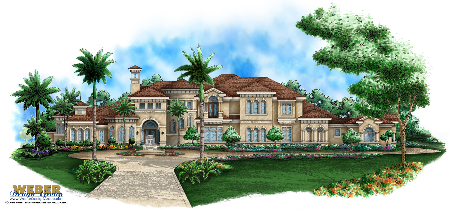 Mediterranean house plan mediterranean tuscan mansion for Group house plans