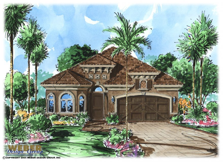 Mediterranean house plan tuscan style mediterranean villa for Narrow lot luxury house plans
