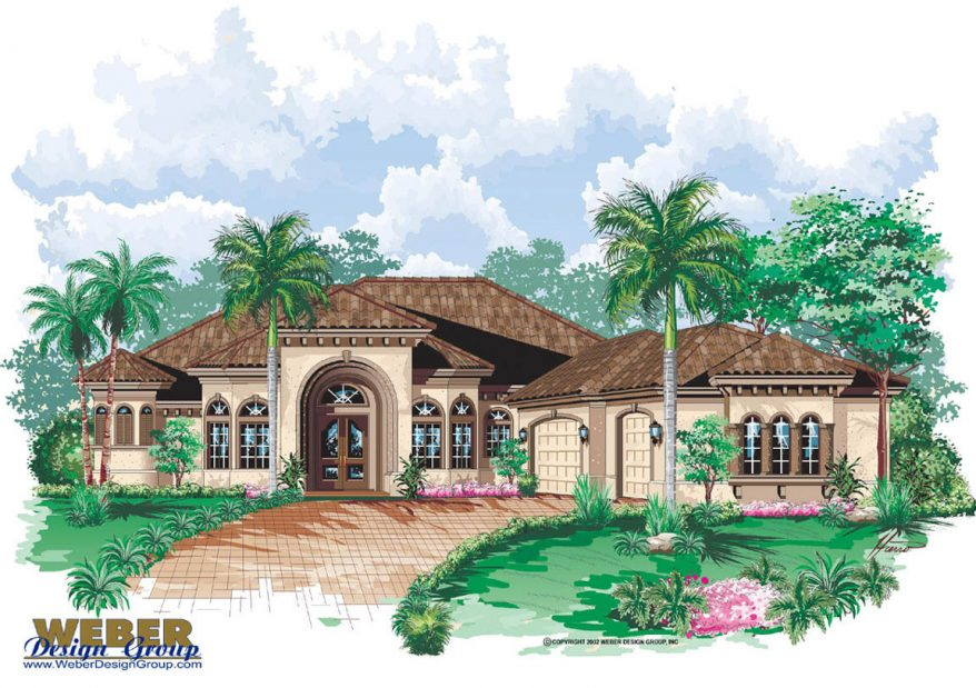 Mediterranean house plan 1 story luxury coastal home for Weber design