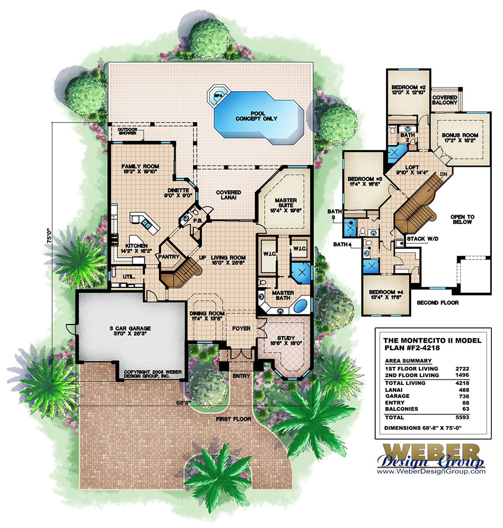 Montecito ii home plan weber design group naples fl for Weber house plans
