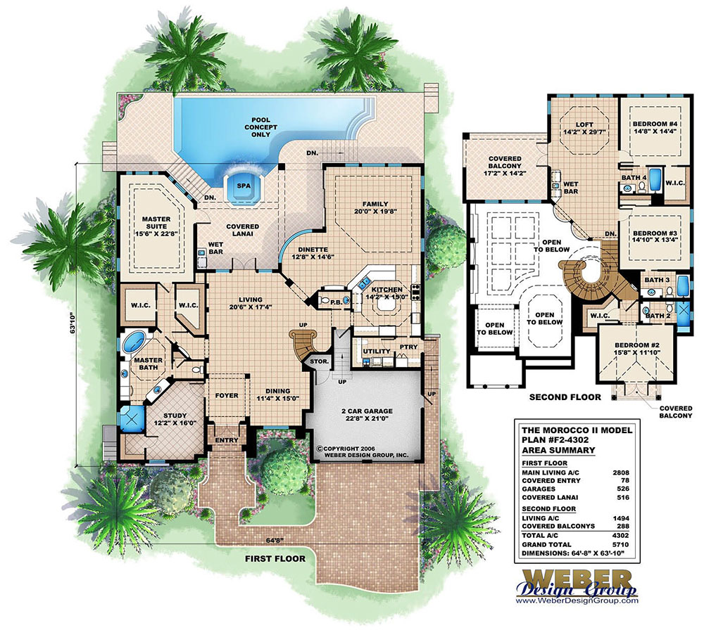 Mediterranean Home Floor Plans: Mediterranean House Plan: Coastal Waterfront Style Home