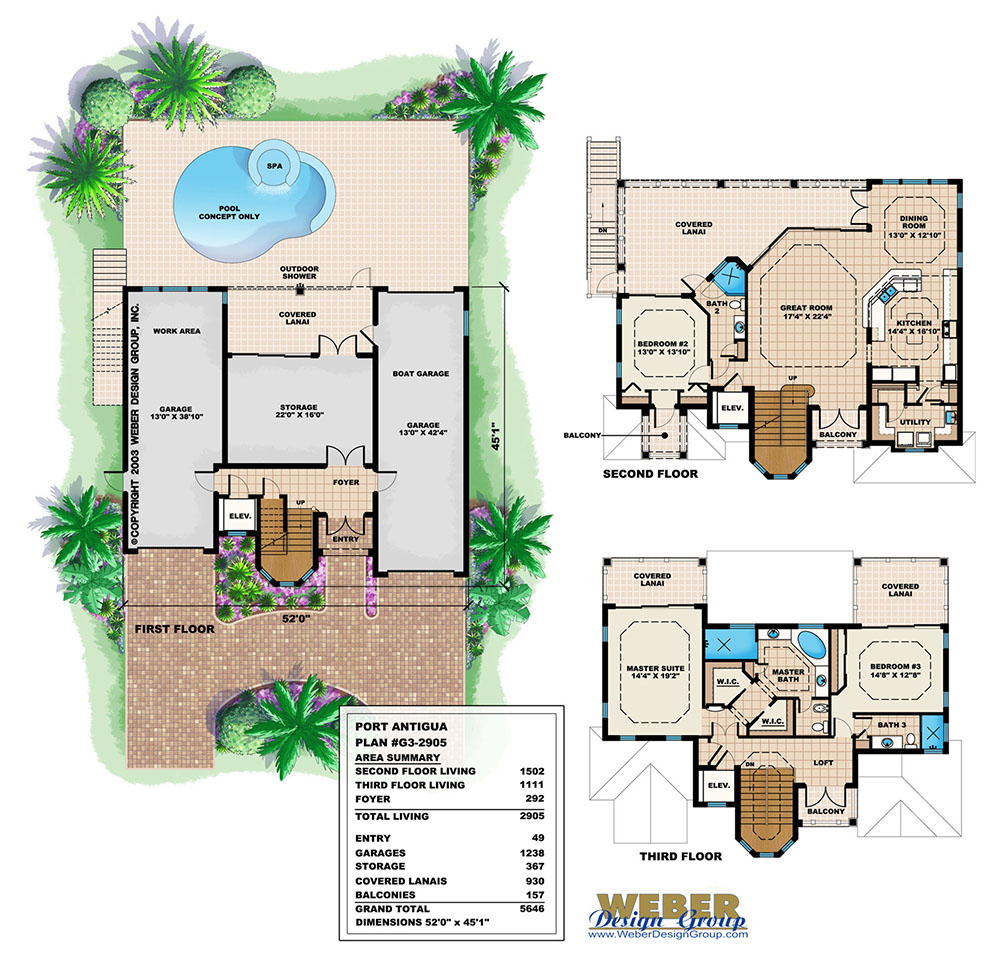 Port antigua home plan weber design group naples fl for Weber design
