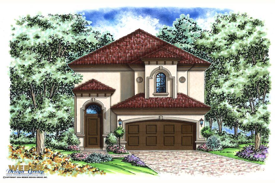 Mediterranean house plan narrow lot 2 story for Mediterranean style floor plans