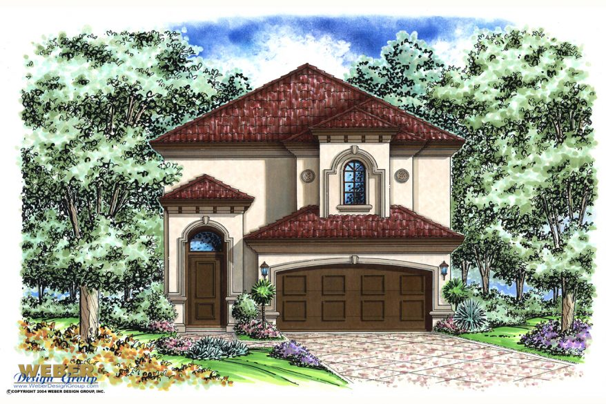 Mediterranean house plan narrow lot 2 story for Two story mediterranean house plans