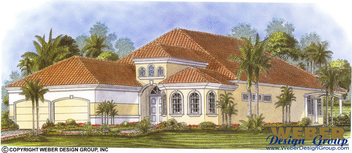 Mediterranean House Plan 1 Story Spanish Waterfront Style