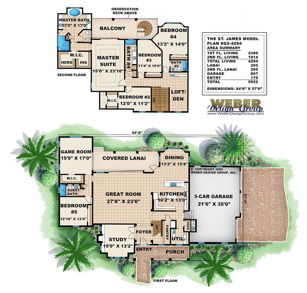 Caribbean isle house plan weber design group for Weber house plans